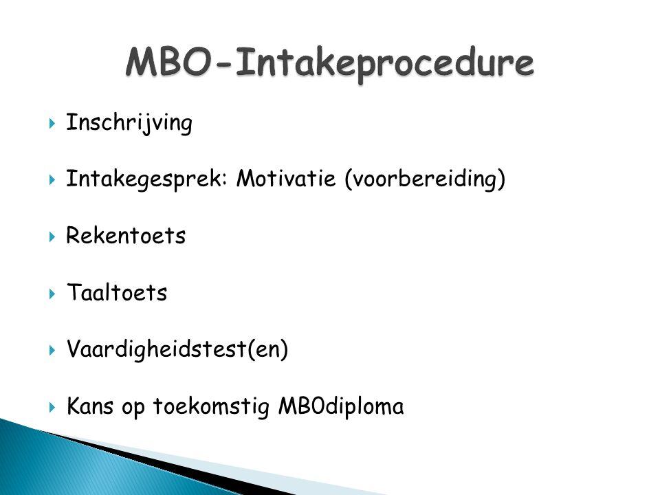  Inschrijving  Intakegesprek: Motivatie (voorbereiding)  Rekentoets  Taaltoets  Vaardigheidstest(en)  Kans op toekomstig MB0diploma
