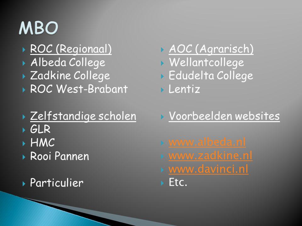  ROC (Regionaal)  Albeda College  Zadkine College  ROC West-Brabant  Zelfstandige scholen  GLR  HMC  Rooi Pannen  Particulier  AOC (Agrarisc