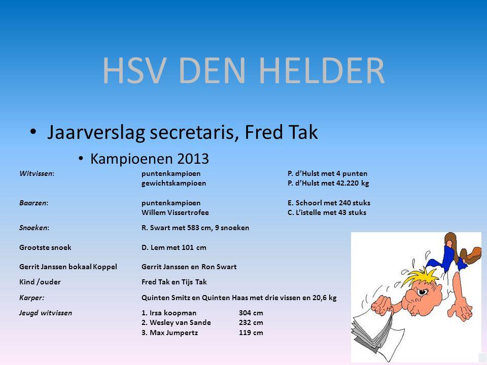HSV DEN HELDER • Jaarverslag secretaris, Fred Tak • Kampioenen 2013 Witvissen:puntenkampioen P. d'Hulst met 4 punten gewichtskampioen P. d'Hulst met 4