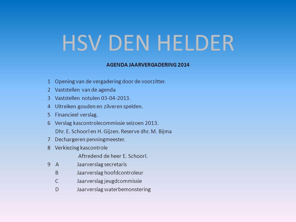 HSV DEN HELDER AGENDA JAARVERGADERING 2014 1Opening van de vergadering door de voorzitter. 2Vaststellen van de agenda 3Vaststellen notulen 03-04-2013.
