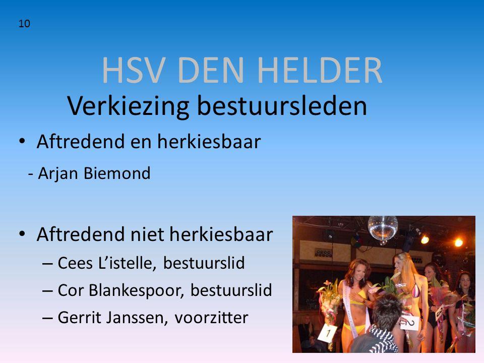 HSV DEN HELDER Verkiezing bestuursleden • Aftredend en herkiesbaar - Arjan Biemond • Aftredend niet herkiesbaar – Cees L'istelle, bestuurslid – Cor Bl