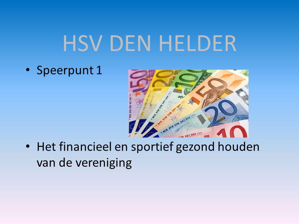 HSV DEN HELDER • Speerpunt 1 • Het financieel en sportief gezond houden van de vereniging