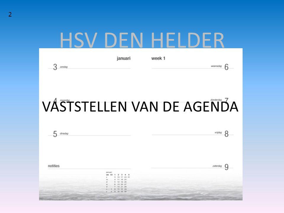 HSV DEN HELDER VASTSTELLEN VAN DE AGENDA 2