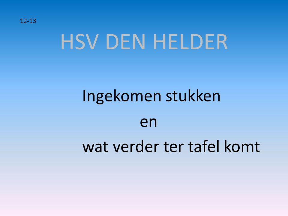 HSV DEN HELDER Ingekomen stukken en wat verder ter tafel komt 12-13