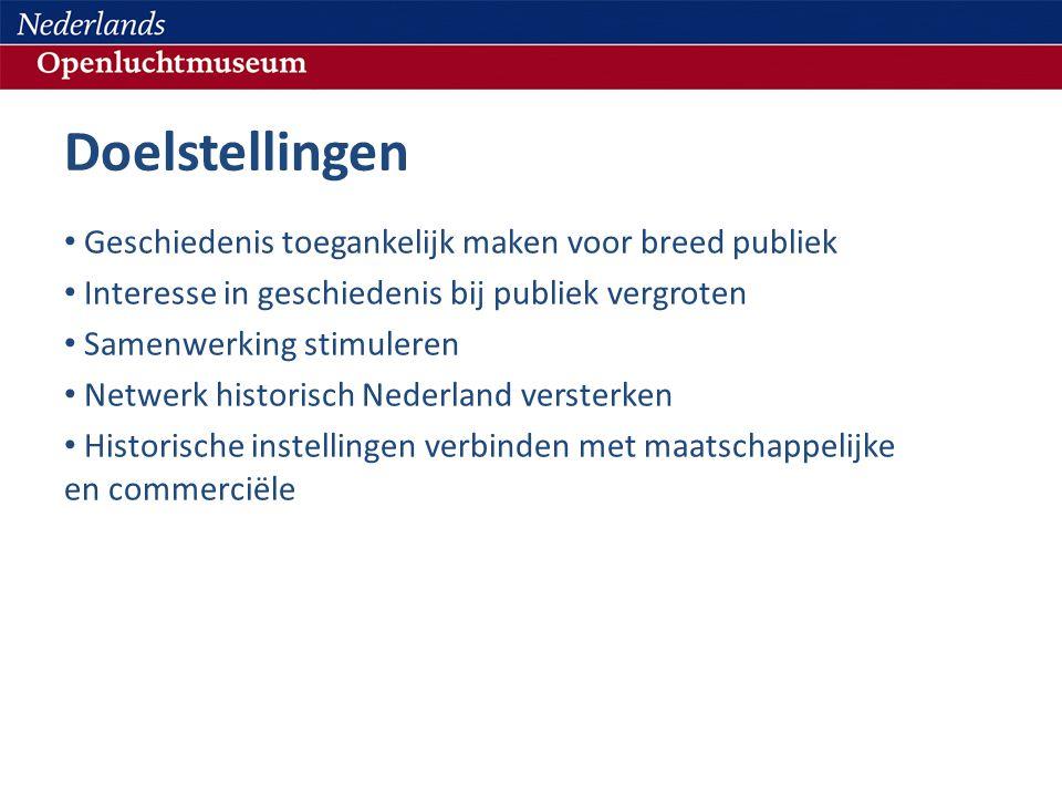 Doelstellingen • Geschiedenis toegankelijk maken voor breed publiek • Interesse in geschiedenis bij publiek vergroten • Samenwerking stimuleren • Netwerk historisch Nederland versterken • Historische instellingen verbinden met maatschappelijke en commerciële