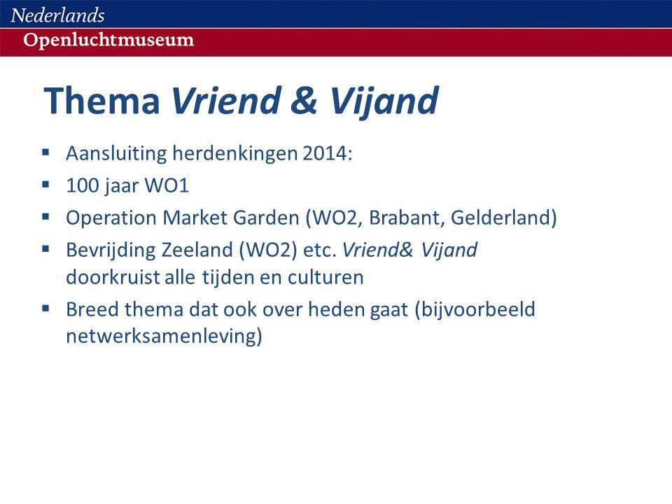 Thema Vriend & Vijand  Aansluiting herdenkingen 2014:  100 jaar WO1  Operation Market Garden (WO2, Brabant, Gelderland)  Bevrijding Zeeland (WO2) etc.