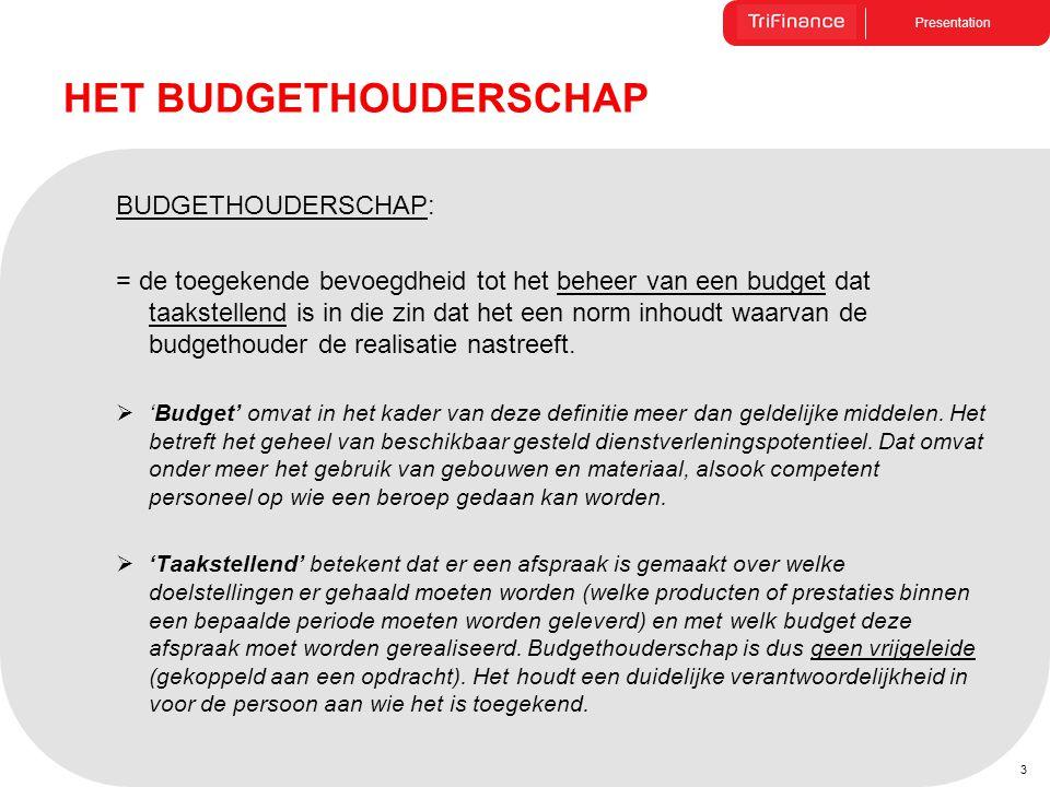 Presentation 3 BUDGETHOUDERSCHAP: = de toegekende bevoegdheid tot het beheer van een budget dat taakstellend is in die zin dat het een norm inhoudt wa
