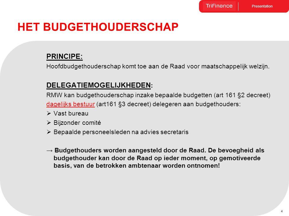 Presentation 4 PRINCIPE: Hoofdbudgethouderschap komt toe aan de Raad voor maatschappelijk welzijn. DELEGATIEMOGELIJKHEDEN : RMW kan budgethouderschap