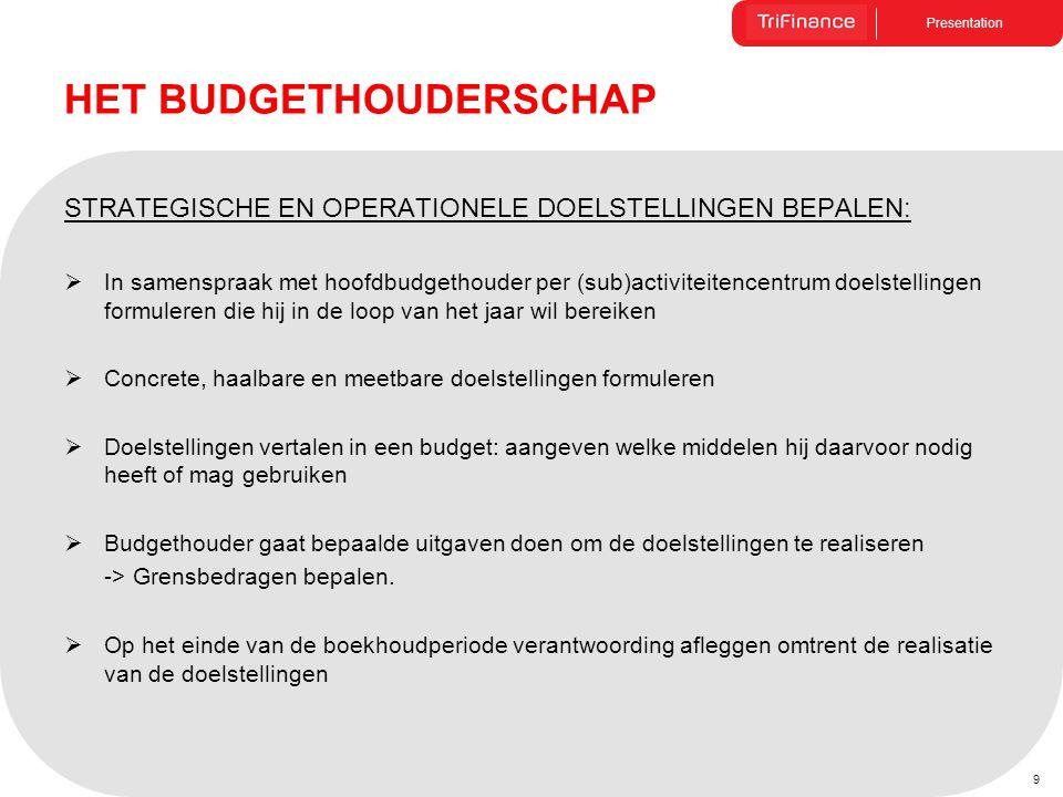 Presentation 9 HET BUDGETHOUDERSCHAP STRATEGISCHE EN OPERATIONELE DOELSTELLINGEN BEPALEN:  In samenspraak met hoofdbudgethouder per (sub)activiteiten