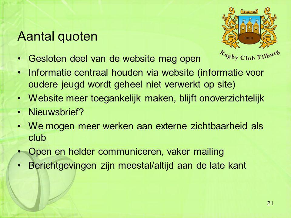 Aantal quoten •Gesloten deel van de website mag open •Informatie centraal houden via website (informatie voor oudere jeugd wordt geheel niet verwerkt