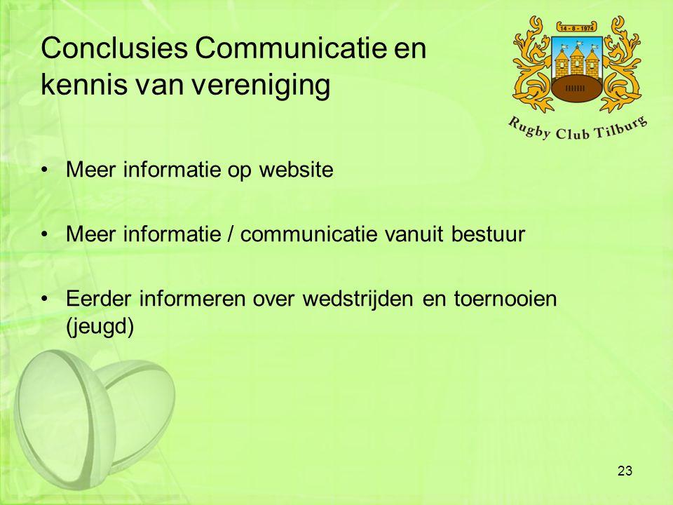 Conclusies Communicatie en kennis van vereniging •Meer informatie op website •Meer informatie / communicatie vanuit bestuur •Eerder informeren over we