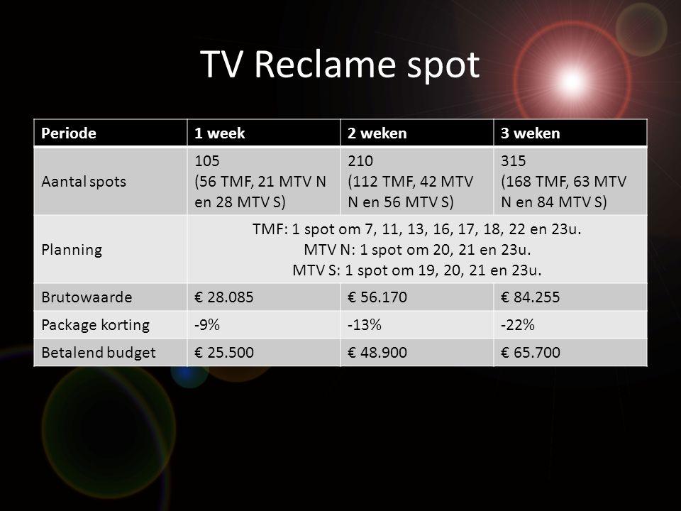 TV Reclame spot Periode1 week2 weken3 weken Aantal spots 105 (56 TMF, 21 MTV N en 28 MTV S) 210 (112 TMF, 42 MTV N en 56 MTV S) 315 (168 TMF, 63 MTV N en 84 MTV S) Planning TMF: 1 spot om 7, 11, 13, 16, 17, 18, 22 en 23u.