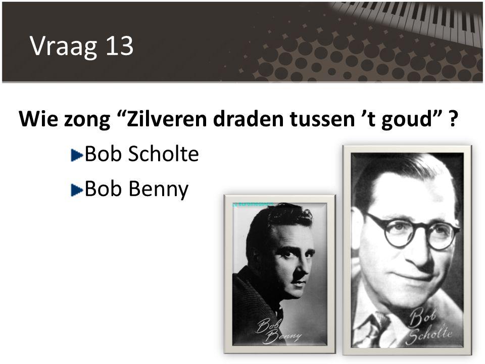 """Vraag 13 Wie zong """"Zilveren draden tussen 't goud"""" ? Bob Scholte Bob Benny"""