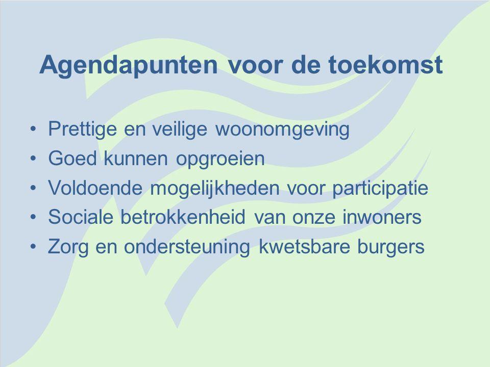 Agendapunten voor de toekomst •Prettige en veilige woonomgeving •Goed kunnen opgroeien •Voldoende mogelijkheden voor participatie •Sociale betrokkenhe