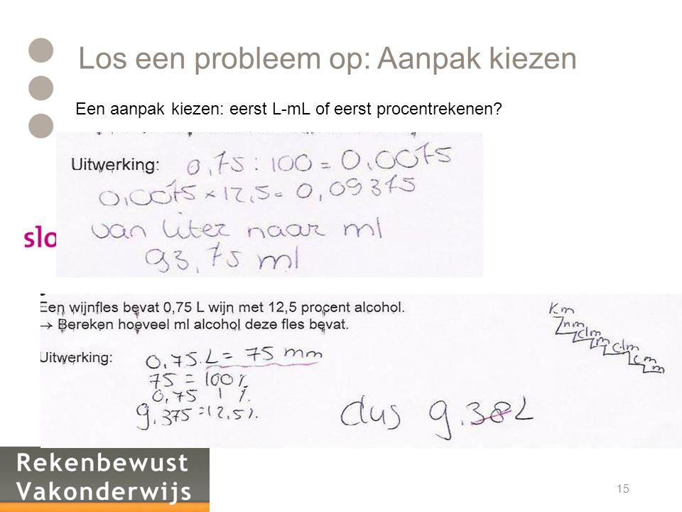 Los een probleem op: Aanpak kiezen Een aanpak kiezen: eerst L-mL of eerst procentrekenen? 15