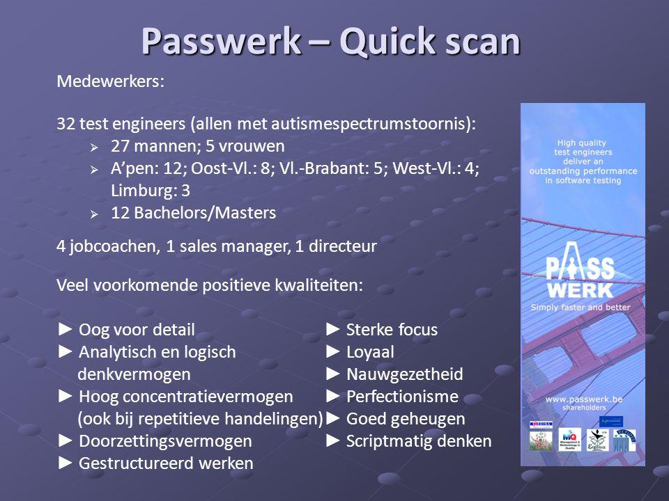 Passwerk – Quick scan Medewerkers: 32 test engineers (allen met autismespectrumstoornis):  27 mannen; 5 vrouwen  A'pen: 12; Oost-Vl.: 8; Vl.-Brabant