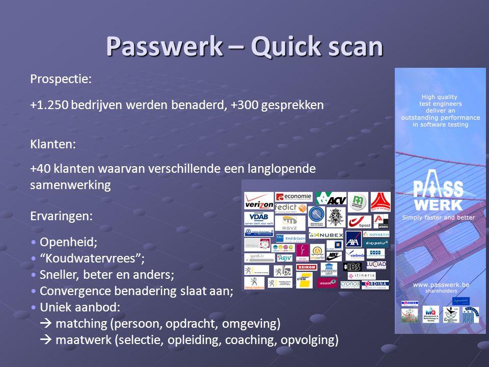 Passwerk – Quick scan Prospectie: +1.250 bedrijven werden benaderd, +300 gesprekken Klanten: +40 klanten waarvan verschillende een langlopende samenwe