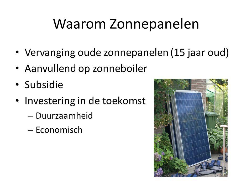 Waarom Zonnepanelen • Vervanging oude zonnepanelen (15 jaar oud) • Aanvullend op zonneboiler • Subsidie • Investering in de toekomst – Duurzaamheid – Economisch