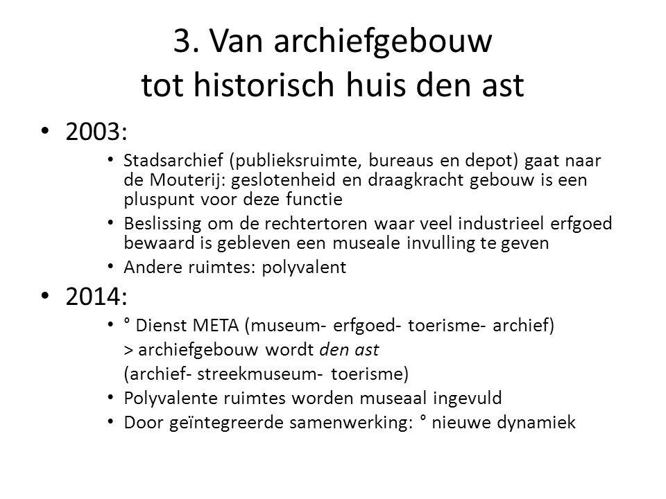 3. Van archiefgebouw tot historisch huis den ast • 2003: • Stadsarchief (publieksruimte, bureaus en depot) gaat naar de Mouterij: geslotenheid en draa