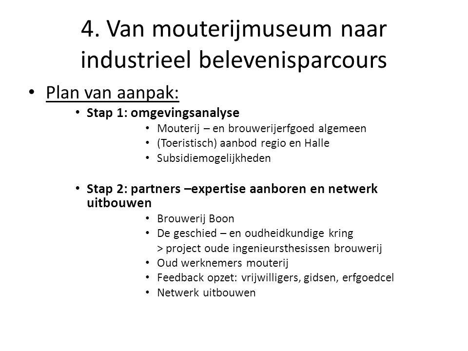 4. Van mouterijmuseum naar industrieel belevenisparcours • Plan van aanpak: • Stap 1: omgevingsanalyse • Mouterij – en brouwerijerfgoed algemeen • (To