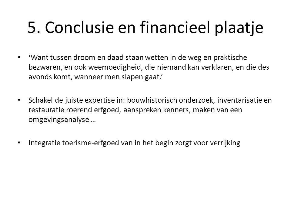 5. Conclusie en financieel plaatje • 'Want tussen droom en daad staan wetten in de weg en praktische bezwaren, en ook weemoedigheid, die niemand kan v