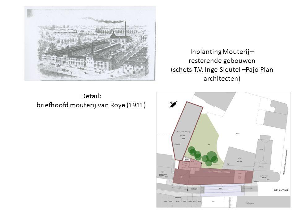 Detail: briefhoofd mouterij van Roye (1911) Inplanting Mouterij – resterende gebouwen (schets T.V. Inge Sleutel –Pajo Plan architecten)