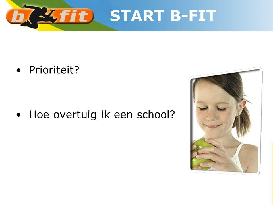 START B-FIT • Prioriteit? • Hoe overtuig ik een school?