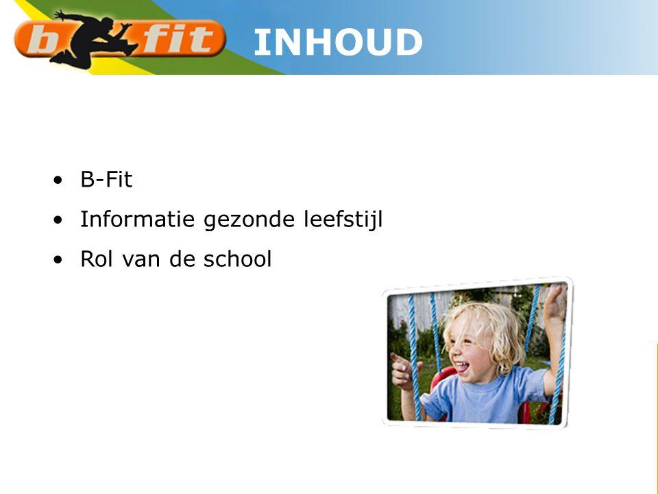 • B-Fit • Informatie gezonde leefstijl • Rol van de school INHOUD