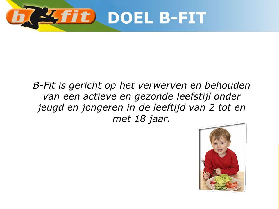 B-Fit is gericht op het verwerven en behouden van een actieve en gezonde leefstijl onder jeugd en jongeren in de leeftijd van 2 tot en met 18 jaar. DO