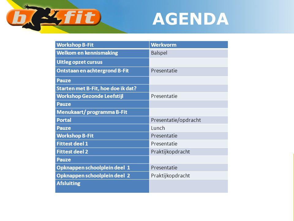AGENDA Workshop B-FitWerkvorm Welkom en kennismakingBalspel Uitleg opzet cursus Ontstaan en achtergrond B-FitPresentatie Pauze Starten met B-Fit, hoe