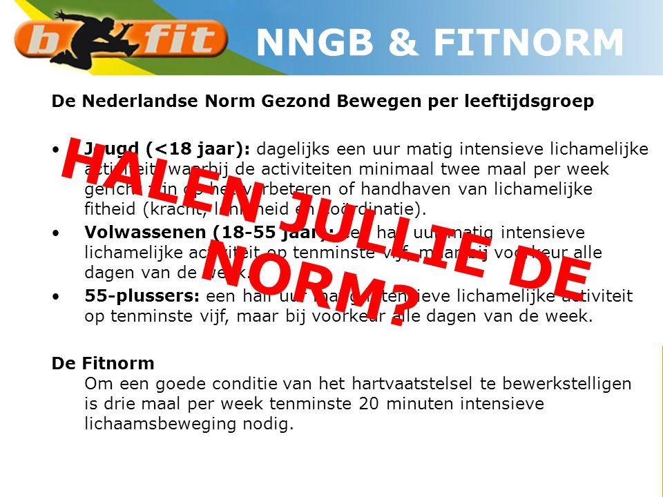 De Nederlandse Norm Gezond Bewegen per leeftijdsgroep •Jeugd (<18 jaar): dagelijks een uur matig intensieve lichamelijke activiteit, waarbij de activi