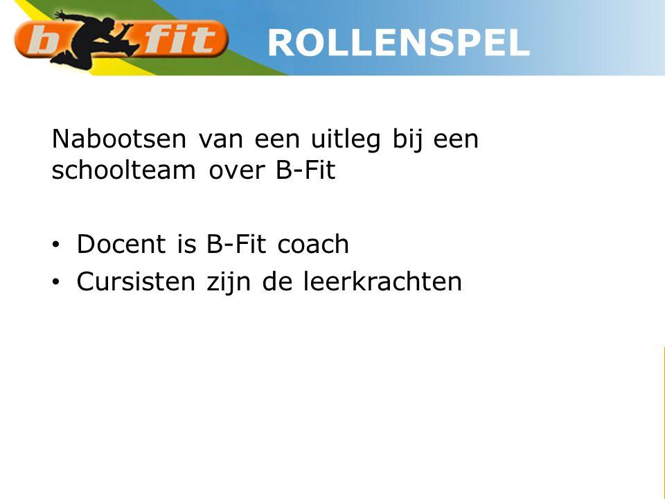 Nabootsen van een uitleg bij een schoolteam over B-Fit • Docent is B-Fit coach • Cursisten zijn de leerkrachten ROLLENSPEL