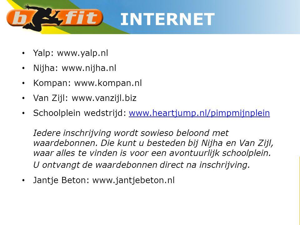 • Yalp: www.yalp.nl • Nijha: www.nijha.nl • Kompan: www.kompan.nl • Van Zijl: www.vanzijl.biz • Schoolplein wedstrijd: www.heartjump.nl/pimpmijnplein