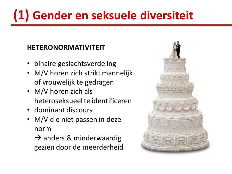 HETERONORMATIVITEIT • binaire geslachtsverdeling • M/V horen zich strikt mannelijk of vrouwelijk te gedragen • M/V horen zich als heteroseksueel te id