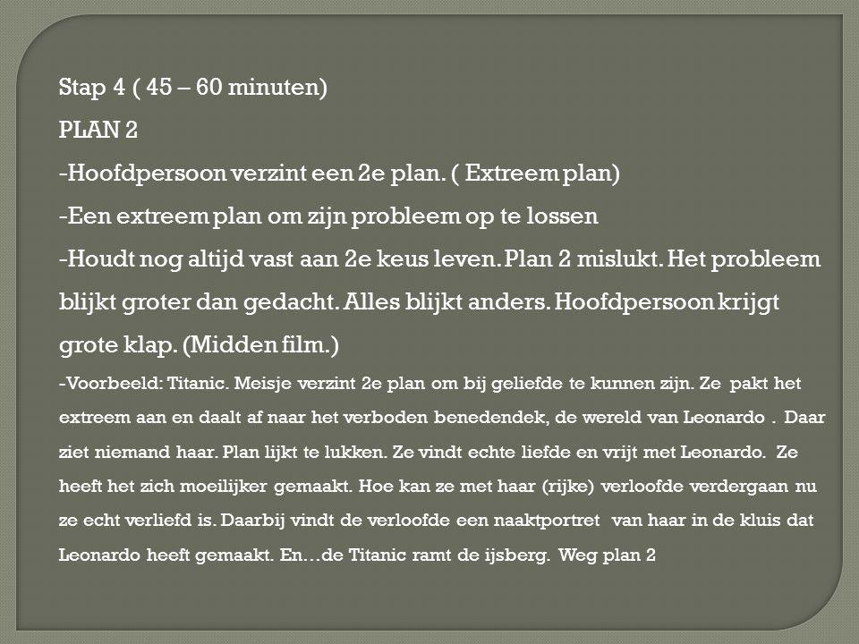 Stap 4 ( 45 – 60 minuten) PLAN 2 -Hoofdpersoon verzint een 2e plan. ( Extreem plan) -Een extreem plan om zijn probleem op te lossen -Houdt nog altijd