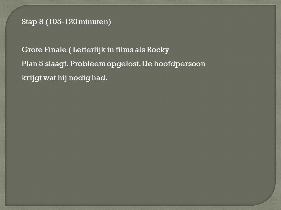 Stap 8 (105-120 minuten) Grote Finale ( Letterlijk in films als Rocky Plan 5 slaagt. Probleem opgelost. De hoofdpersoon krijgt wat hij nodig had.