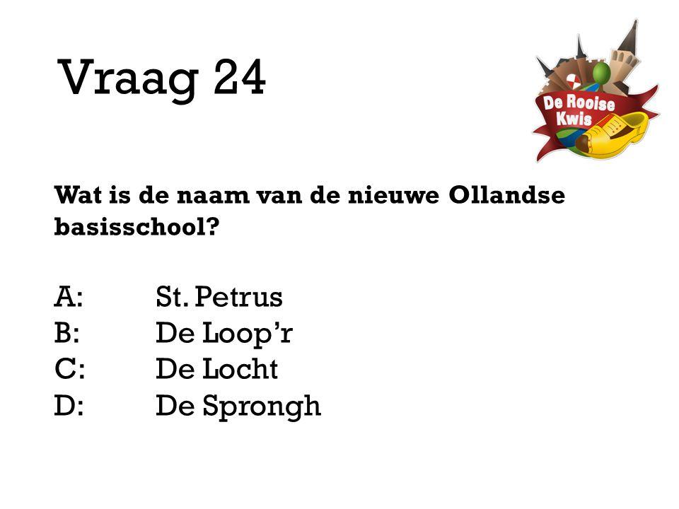 Vraag 24 Wat is de naam van de nieuwe Ollandse basisschool? A:St. Petrus B:De Loop'r C:De Locht D: De Sprongh