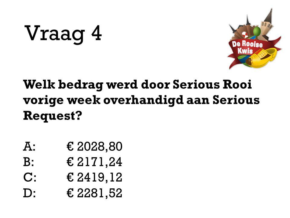Vraag 4 Welk bedrag werd door Serious Rooi vorige week overhandigd aan Serious Request? A:€ 2028,80 B:€ 2171,24 C:€ 2419,12 D: € 2281,52