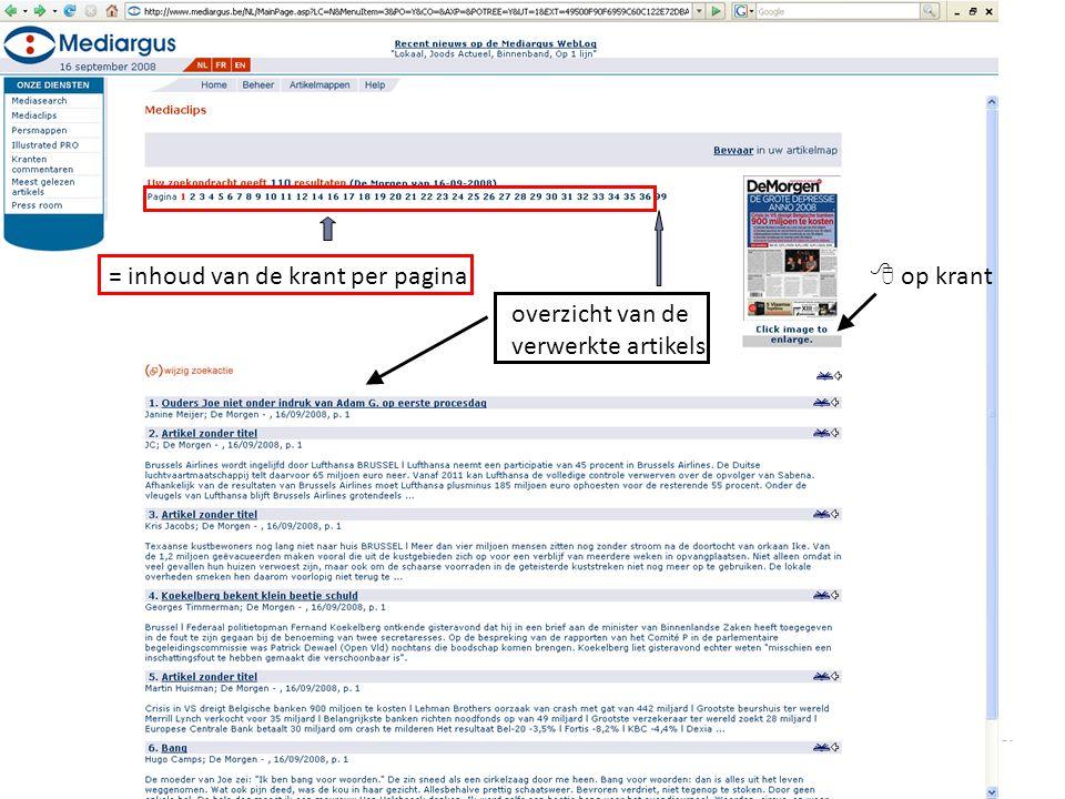 = inhoud van de krant per pagina overzicht van de verwerkte artikels  op krant