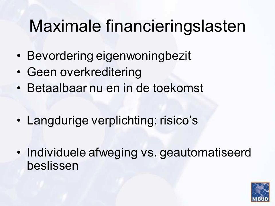 Maximale financieringslasten •Bevordering eigenwoningbezit •Geen overkreditering •Betaalbaar nu en in de toekomst •Langdurige verplichting: risico's •