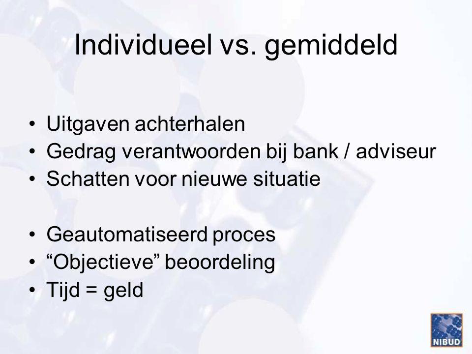 """Individueel vs. gemiddeld •Uitgaven achterhalen •Gedrag verantwoorden bij bank / adviseur •Schatten voor nieuwe situatie •Geautomatiseerd proces •""""Obj"""