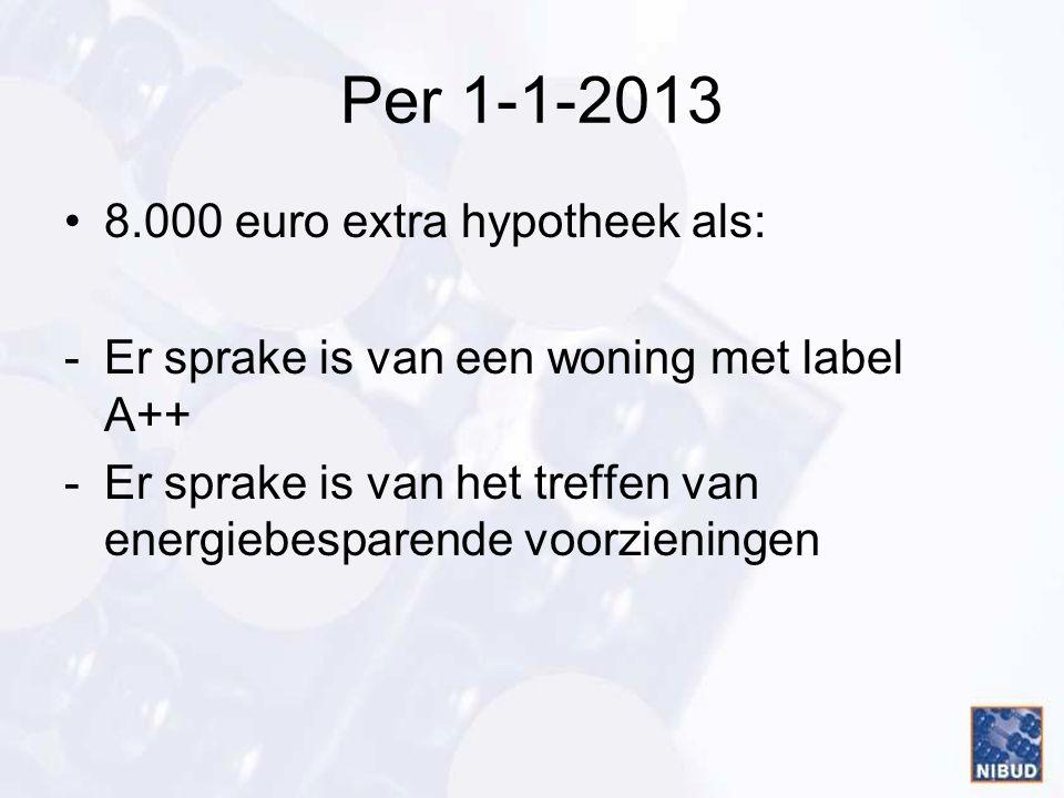 Per 1-1-2013 •8.000 euro extra hypotheek als: -Er sprake is van een woning met label A++ -Er sprake is van het treffen van energiebesparende voorzieni