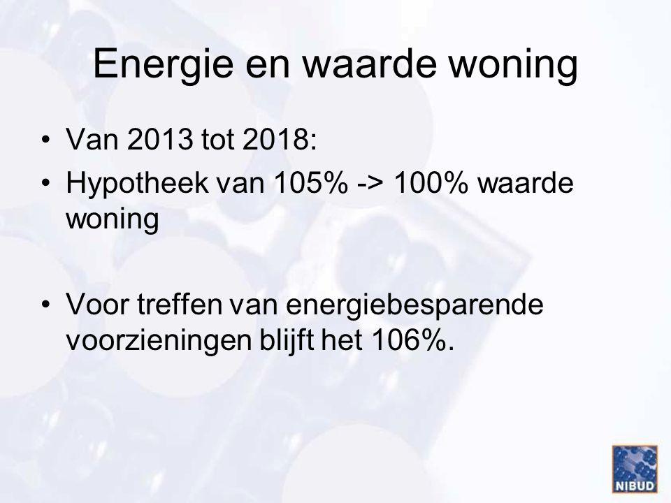 Energie en waarde woning •Van 2013 tot 2018: •Hypotheek van 105% -> 100% waarde woning •Voor treffen van energiebesparende voorzieningen blijft het 10