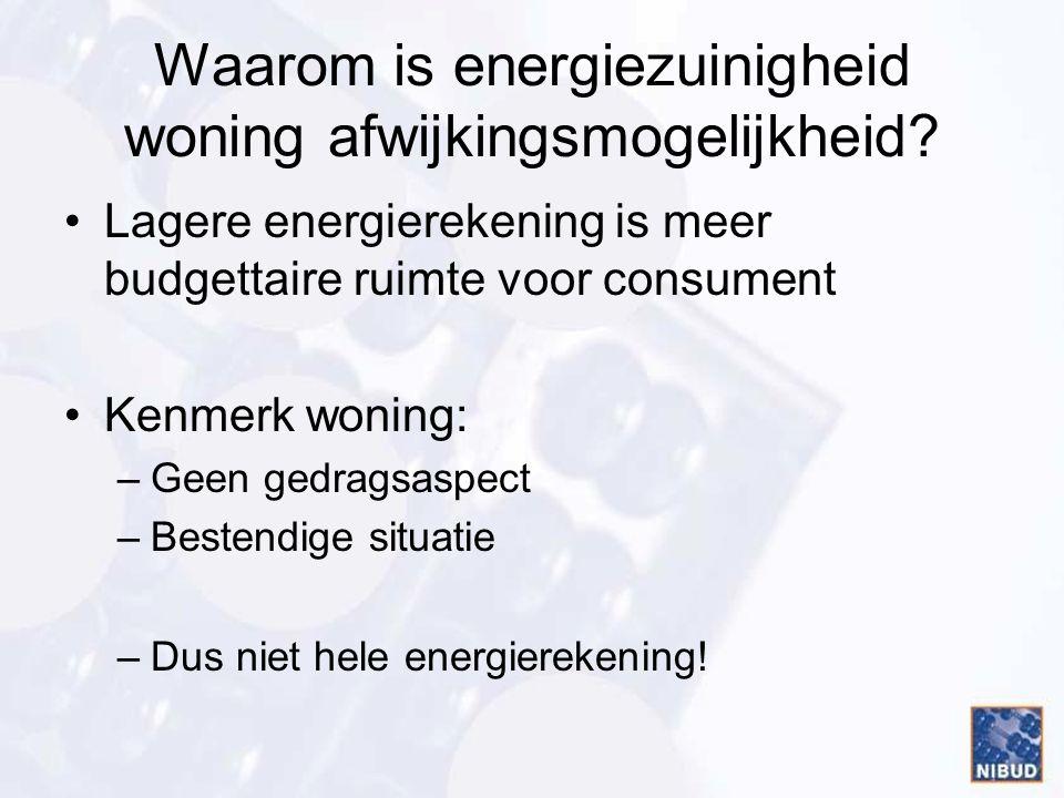 Waarom is energiezuinigheid woning afwijkingsmogelijkheid? •Lagere energierekening is meer budgettaire ruimte voor consument •Kenmerk woning: –Geen ge