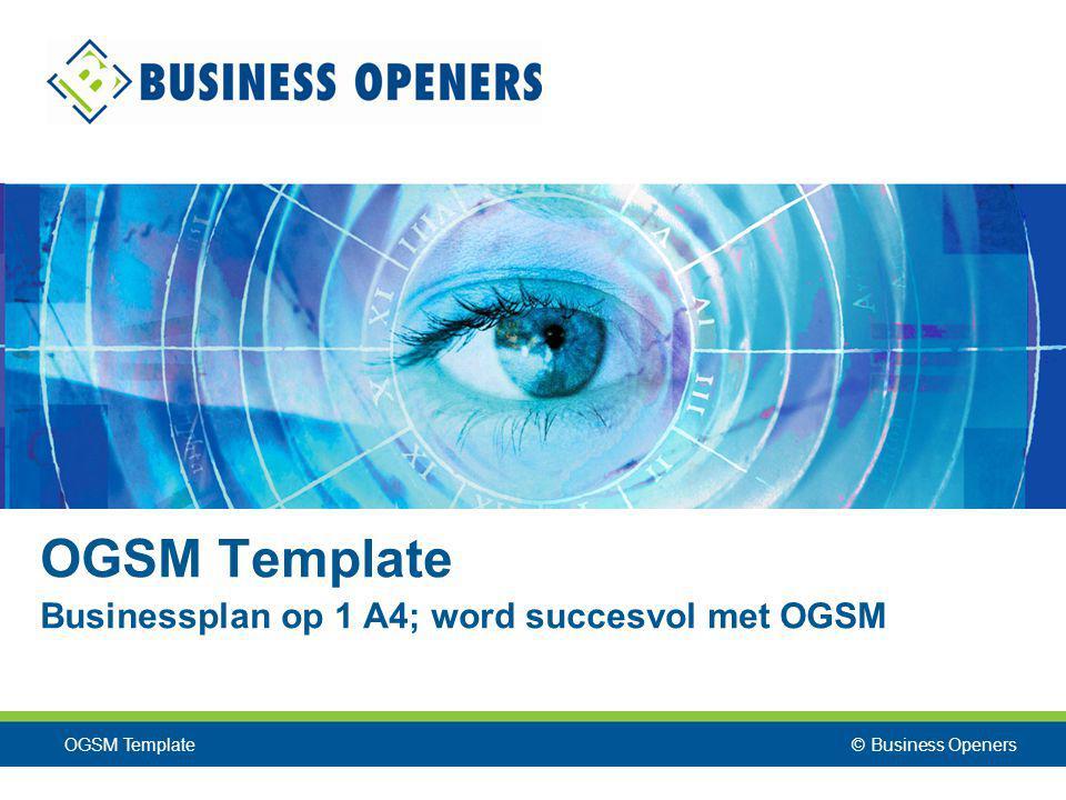 © Business Openers OGSM Template Businessplan op 1 A4; word succesvol met OGSM OGSM Template