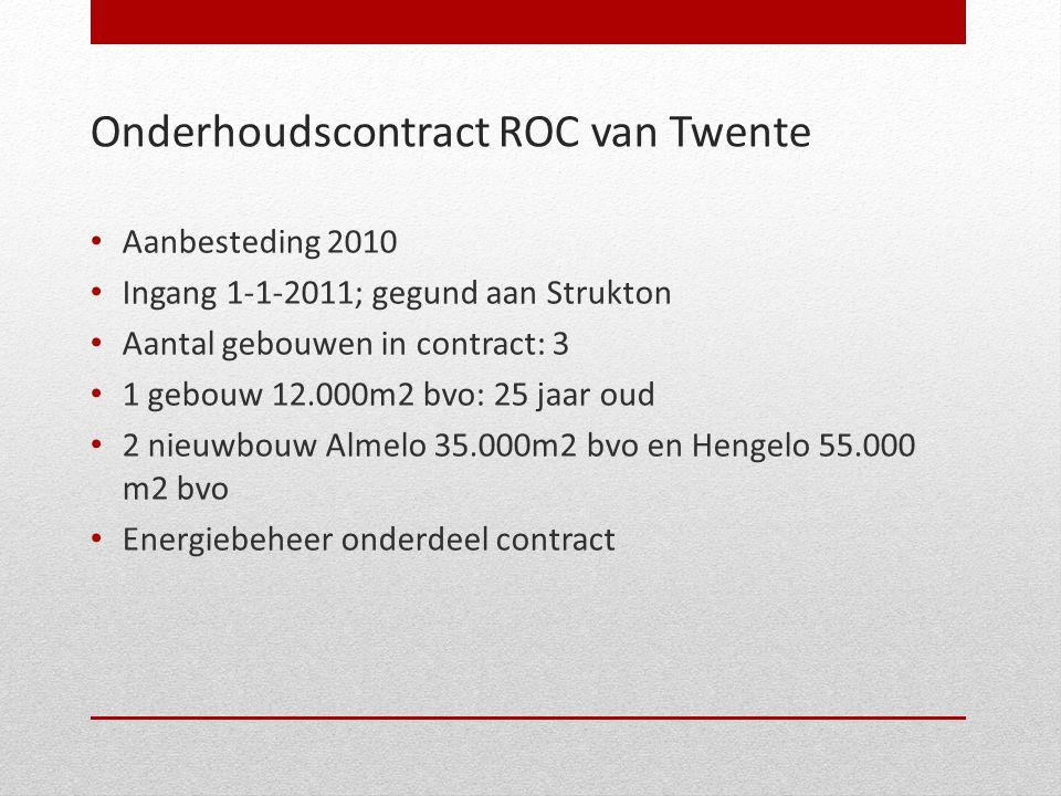 Onderhoudscontract ROC van Twente • Aanbesteding 2010 • Ingang 1-1-2011; gegund aan Strukton • Aantal gebouwen in contract: 3 • 1 gebouw 12.000m2 bvo:
