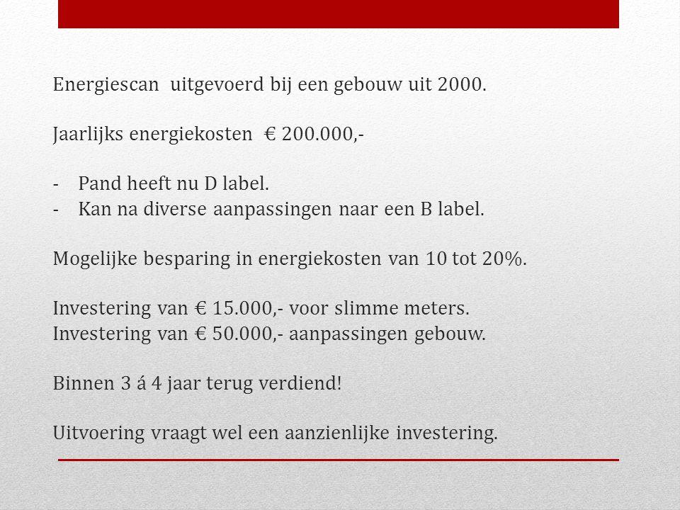 Energiescan uitgevoerd bij een gebouw uit 2000. Jaarlijks energiekosten € 200.000,- - Pand heeft nu D label. - Kan na diverse aanpassingen naar een B