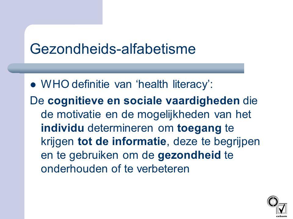 Gezondheids-alfabetisme  WHO definitie van 'health literacy': De cognitieve en sociale vaardigheden die de motivatie en de mogelijkheden van het indi