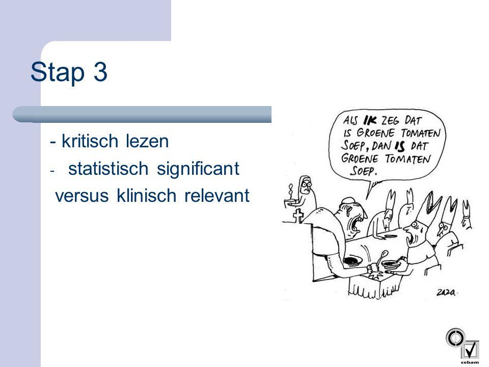 Stap 3 - kritisch lezen - statistisch significant versus klinisch relevant