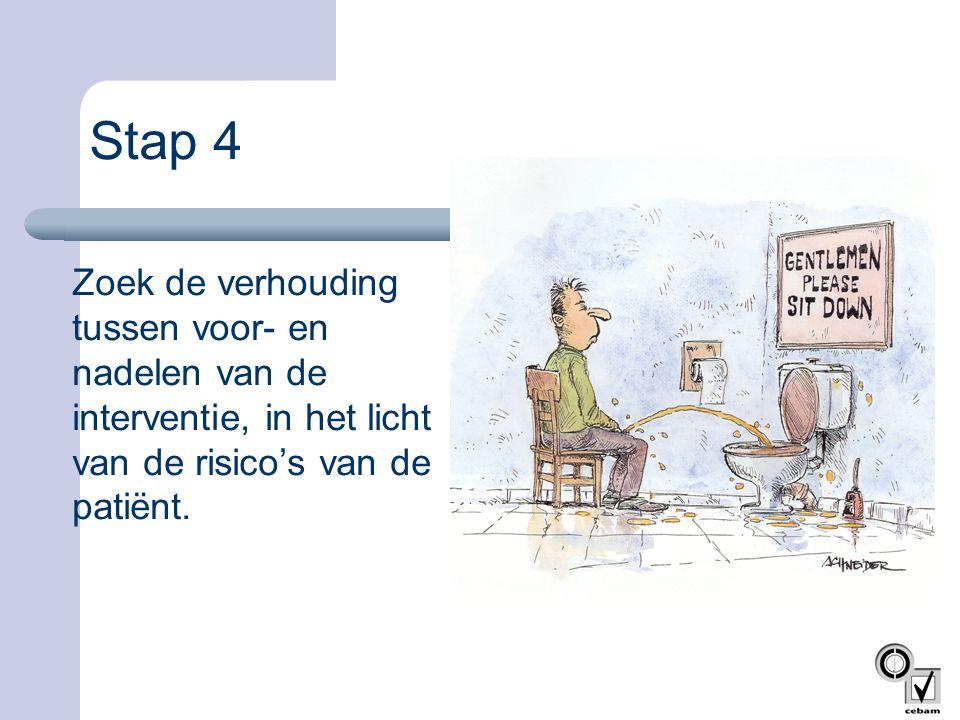 Stap 4 Zoek de verhouding tussen voor- en nadelen van de interventie, in het licht van de risico's van de patiënt.